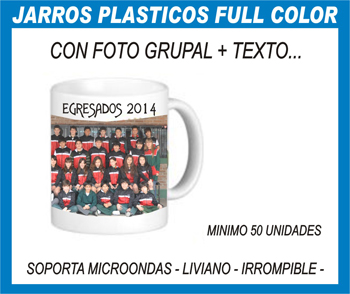 JARROS PLASTICOS CON FOTO GRUPAL + TEXTO DE EGRESADOS