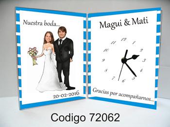 72062 - Reloj doble con diseño para Bodas CON FOTO TRUCADA DE LOS NOVIOS