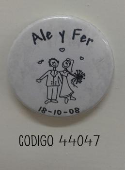 44047 - IMAN DE 37MM DE DIAMETRO PERSONALIZADO PARA CASAMIENTO