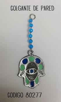 80277 - COLGANTE HAMSA - Decoracion con circulos de colores - perlitas celestes